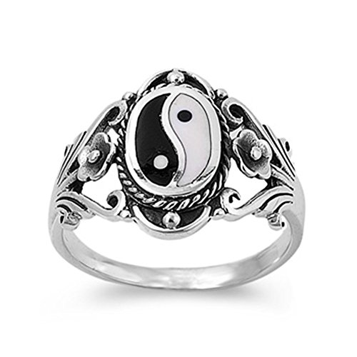 Sterling Silver Women's Chinese Yin Yang Ring Wholesale 925 Band 18mm Size 9