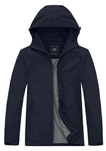 ZSHOW Men s Autumn Windproof Water Repellent Outer Jacket Lightweight UV Protection Skin Coat(Navy,Large)