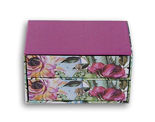 Greenbrier International Fashion Paper Trinket Boxes with Drawers (Floral Fuchsia)
