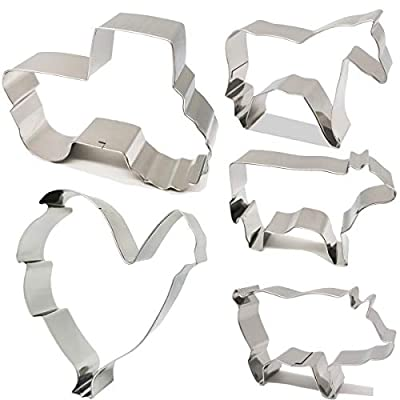 Antallcky Farm Animal Cookie Cutter Set of 5 Piece-Rooster,Cow,Pig,Horse,Tractor Stainless Steel Biscuit Molds Fondant Cookie Cutter Set Pastry Mold-1 Inch Depth