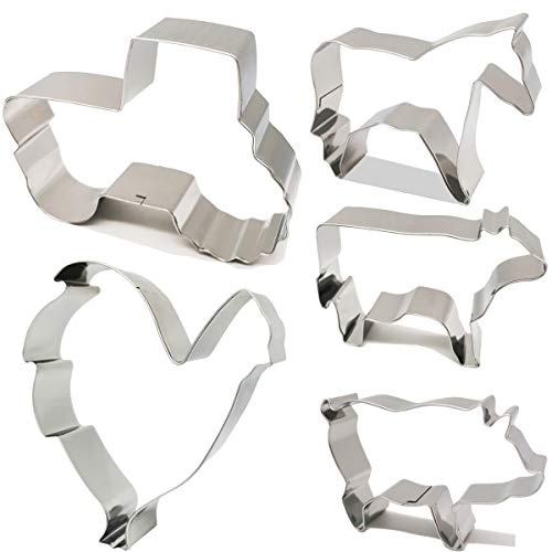 (Antallcky Farm Animal Cookie Cutter Set of 5 Piece-Rooster,Cow,Pig,Horse,Tractor Stainless Steel Biscuit Molds Fondant Cookie Cutter Set Pastry Mold-1 Inch Depth)