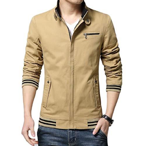 RkBaoye Size Relaxed Slim Basic Sleeve Fit Jacket Zip Long Mens Khaki Plus Coat rqrnwx6FRU