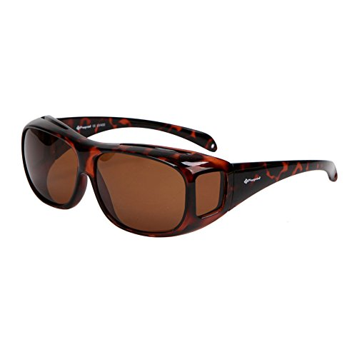 Freeprint Polarized Solar Shield Fit Over Glasses Driving, Leopard, Size No ()