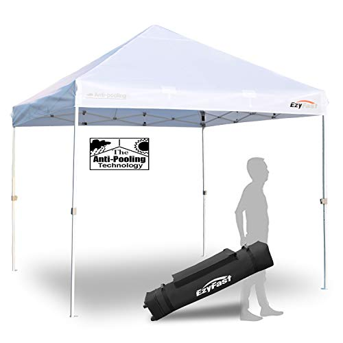 EzyFast Patented Antipool Commercial Grade Instant Canopy Shelter for Rain or Sunshine, White Portable 10ft x 10ft Straight Leg Pop Up Shade Tent with Wheeled Carry Bag