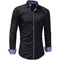 OWMEOT Mens 100% Cotton Casual Slim Fit Long Sleeve Button Down Printed Dress Shirts