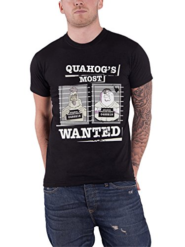 Family Guy T Shirt Most Wanted Quahog Police Dept Official Mens Black (Patch Police Dept)