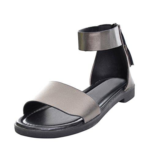 Lieve Platte Sandalen Met Platte Ritssluiting En Kwastjes Grijs