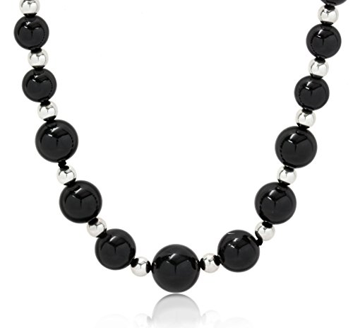ISAAC WESTMAN 12-8mm Graduated Polished Black Onyx Beaded Necklace | 925 Sterling Silver Beads (16) (Graduated Onyx)