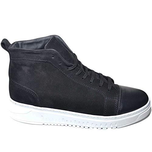 Fondo Stivaletto Camoscio Uomo Alta Vera Con Italy Pelle In Made Di Sneakers Punta Army A Nero Bianco f7wgxRAAq