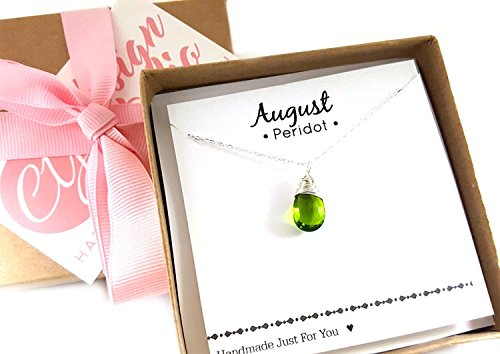 (August Birthstone Green Peridot Necklace - Sterling Silver Briolette Teardrop Jewelry - Gift for)