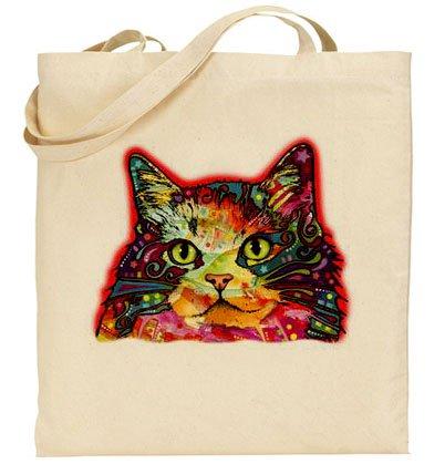 (AB): psichedelico Cat-Borsa in cotone, colore: naturale