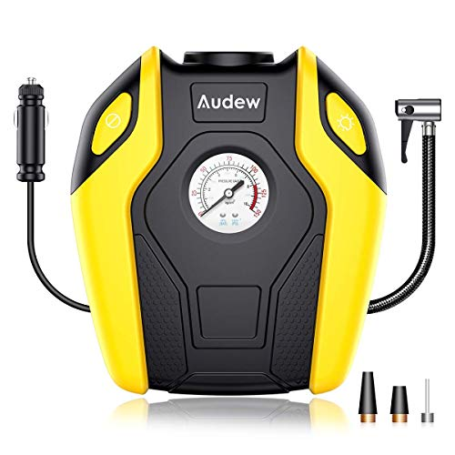 Audew Air Compressor Pump - 150 PSI Portable Tire Inflator, 12V DC Tire Pump for Car, Truck, Bicycle, RV and Other (Best Audew Auto Tire Inflators)