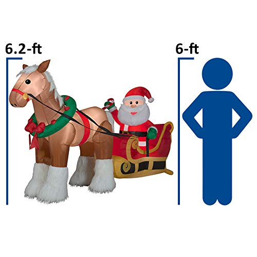 Gemmy Inflatable Horse Pulling Santa's Sleigh 6.5Ft. Outdoor Christmas Holiday Decoration
