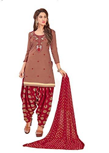 Anni Designer Women's Dusty Color Glace Cotton Thread Embroidered Banarasi Jacquard Dupatta Punjabi Dress Material(Suhagan 5008_Dusty_Free Size)