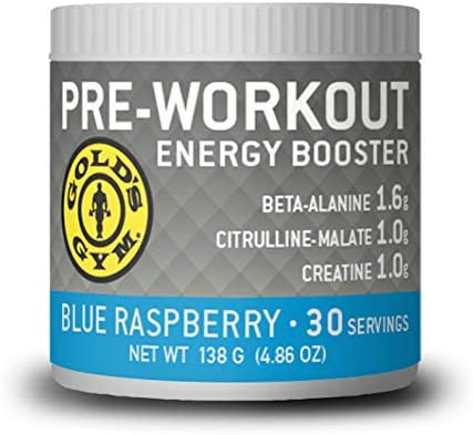 Gold s Gym Pre-Workout Blue Raspberry Energy Powder – Helps to Increase Energy to Maximize Your Workout – 30 Servings 4.9 oz