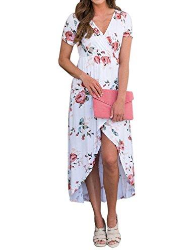 sans 1 soire Vintage t Ray Multicouleur V Style Manches Robe Floral Casual Longue Pas Patchwork Noir Cher BMJL Col soire Femme Chic 71wZqnYn