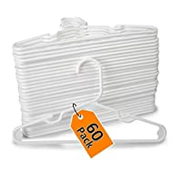 1InTheHome White Children Hangers Plastic, Strong Baby Hangers Plastic, Kids Cloth Hangers (60 Pack)