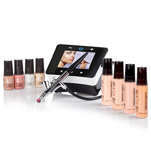 Luminess Air Epic2 Airbrush System with Deluxe 8-Piece Airbrush Foundation & Cosmetic Starter Kit, Shade Medium