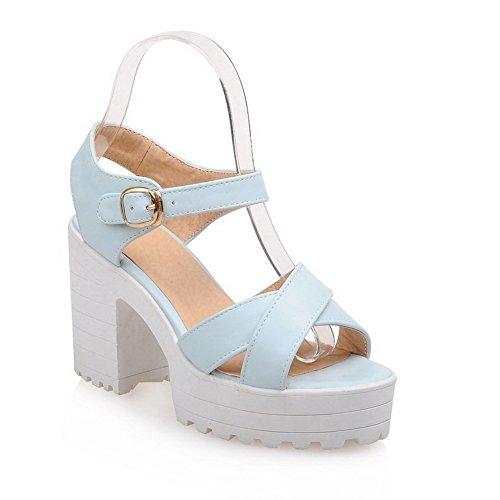 Amoonyfashion Kvinna Kick-häl Mjukt Material Fast Spänne Öppen Tå Krängt-sandaler Blå