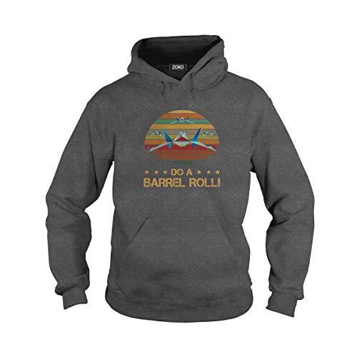 Zoko Apparel Unisex Do A Barrel Roll Adult Hooded Sweatshirt (XL, Dark Heather) (Do A Barrel Roll)
