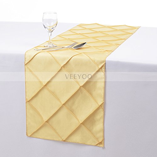VEEYOO 12x108 Inch Pintuck Taffeta Table Runner Cloth Cover Home Linens - Wedding Party Decoration, Yellow
