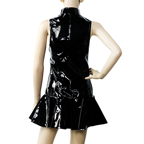 0f4daf81e9662 Sasairy PVC Wet Look Sleeveless Mini Dress Cosplay Sexy Clubwear Pleated  Skater
