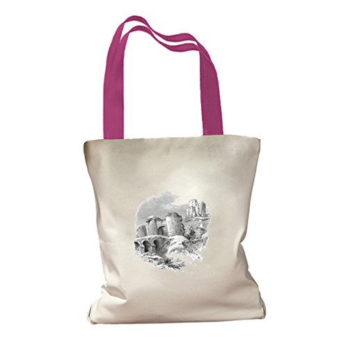 Corfe Castles #2 Canvas Colored Handles Tote Bag - Hot Pink - Corfe Castle