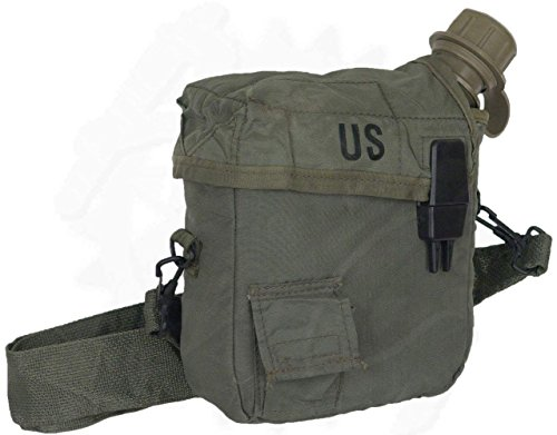 GI 2 Quart Canteen & Insulated Canteen Cover Olive Drab Made in USA