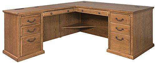 - Martin Furniture Huntington Oxford Office Left L-Shaped Desk, Wheat Finish