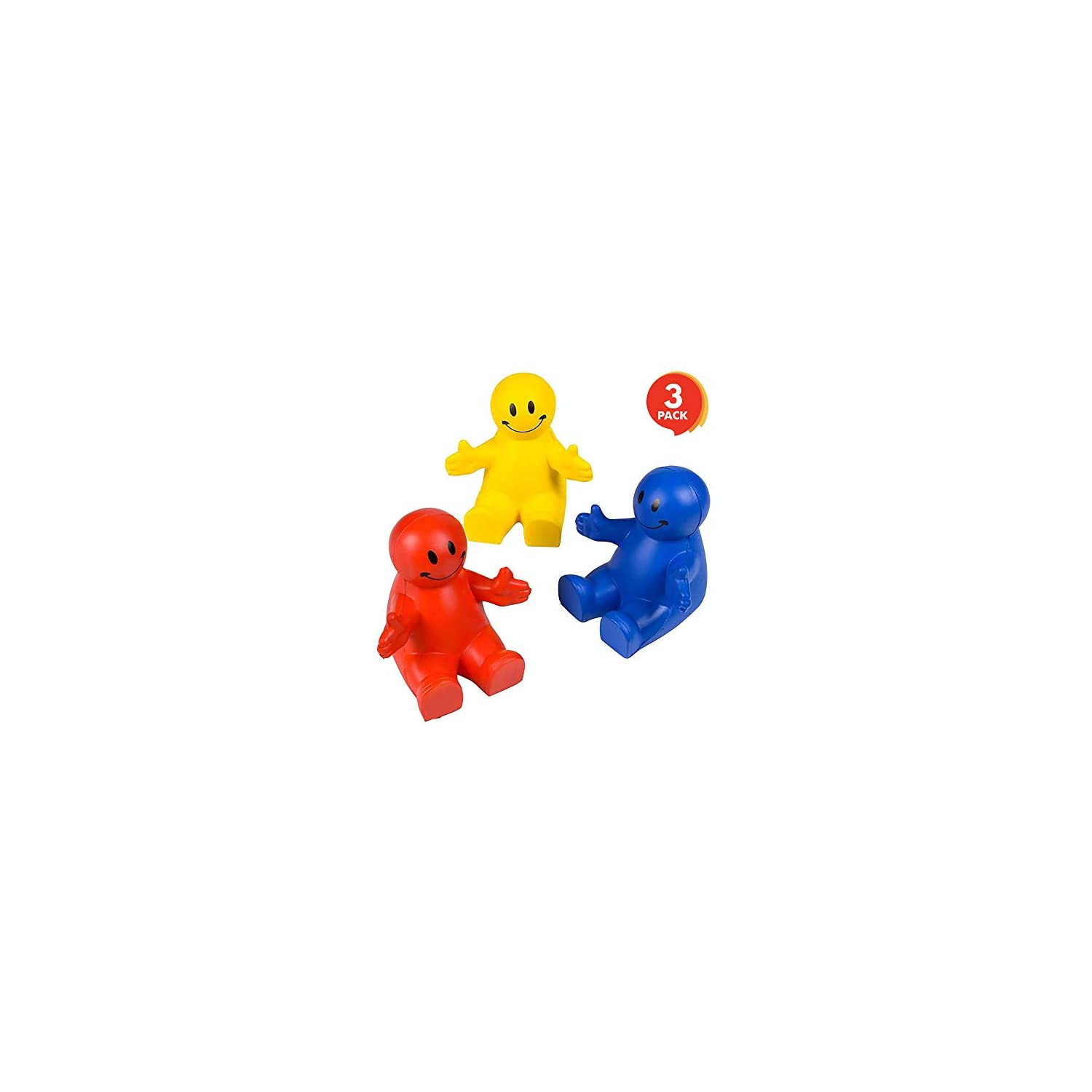 ArtCreativity 4 Inch Squeezable Smile Phone Holder, 3 Pack, 2-in-1 Smartphone Stand, Squeeze Stress Relief Fidget Toy for Kids & Adults, Desk Decoration, Party Favor, Office Gift, Red-Blue-Yellow