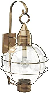 product image for Brass Traditions 601-1-OPT-AB Extra Large Onion Wall Lantern One Light Optic Globe, Antique Brass Finish One Light Optic Globe Extra Onion Wall Lantern