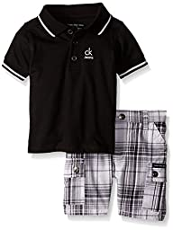 Calvin Klein Baby Boys\' Jersey Polo Shirt and Plaid Shorts, Black, 12 Months