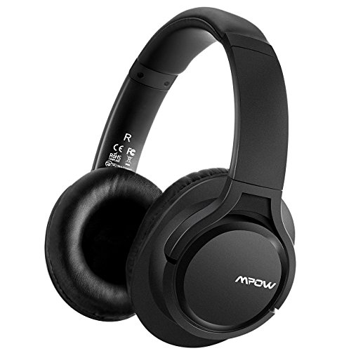 Mpow H7 Bluetooth Headphones Over-Ear, Stereo Wireless Headphones with Microphone, Memory-protein Ear Cushions, Wired and Wireless Headphones for Cellphone/ Tablets/ PC/ TV (Black)