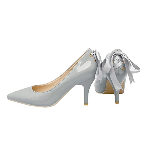 Caro Tempo Donne Punta A Punta Tacco Alto Slip On Stiletto Pumps Scarpe Da Sposa Basic Shoes Grigie