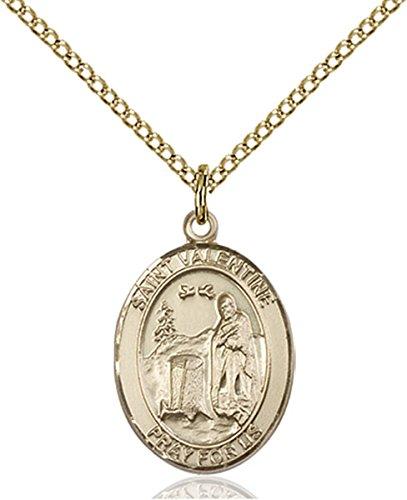 14K Gold Filled Saint Valentine of Rome Medal Pendant, 3/4 Inch