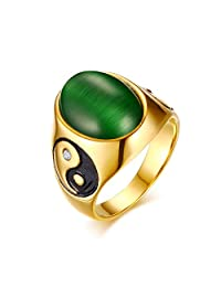 Vnox 18K Gold Plated Stainless Steel Crystal Yin Yang with Green Stone Ring for Men,Size 7