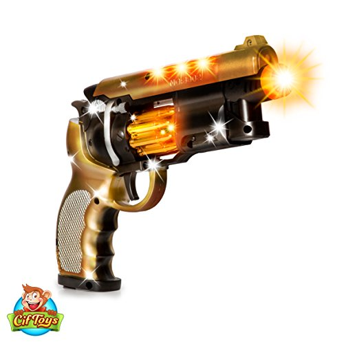CifToys Blade Runner Gun Pistol Toy With Gunfire Sounds | Durable Design,  Nonslip Grip, Rotating Bullet Chamber & Lights | For Pretend Play, Parties,  ...