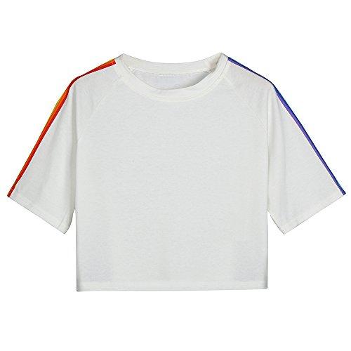 Aniywn Women Girls Rainbow Stripe Short Sleeve T-Shirt Casual Patchwork Short Sweatshirt Hoodie ()