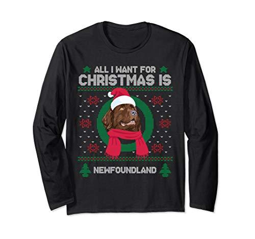 Newfoundland Santa Hat Ugly Sweater Christmas Long Sleeve