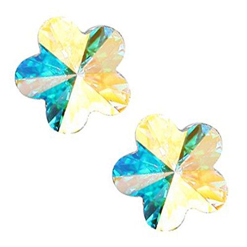 18K White Gold Plated, Rainbow Topaz Aurora Borealis Crystal Element, Flower Stud Earrings, 10mm