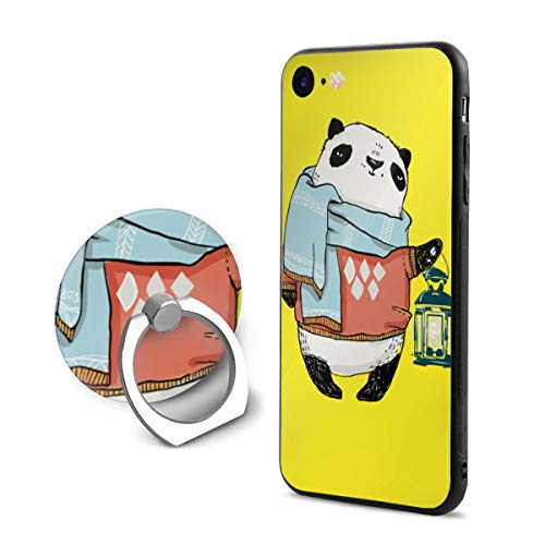 Cute Panda and Lamp iPhone 7/8 Case with 360 Rotating Ring Holder Slim Fit Hard PC Protective Shock-Absorption Anti-Scratch Case Back Cover for iPhone 7/8
