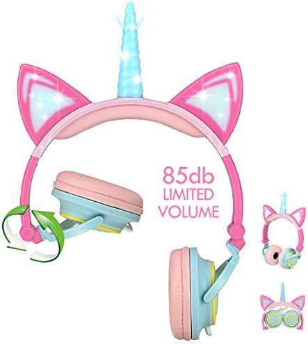 Nice2Mitu Cat Ear Kids Headphones for Girls Tablet School Supplies, Led Glowing Headphones for Kids, Foldable Over On Ear Girl Headphones Toddlers Travel Birthday Gifts Pink