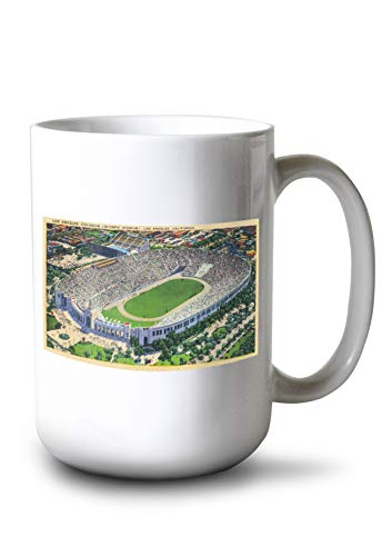 Lantern Press Los Angeles, California - Aerial View of The Coliseum (15oz White Ceramic Mug)