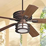 52' Mission II Outdoor Ceiling Fan with Light LED Dimmable Oil Brushed Bronze Reversible Dark Walnut Blades Damp Rated for Patio Porch - Casa Vieja