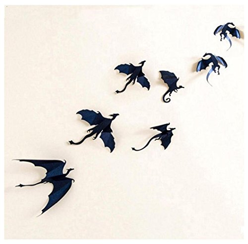 Singleluci 7Pcs / Set 3D Halloween Gothic Wallpaper Stickers Dragon