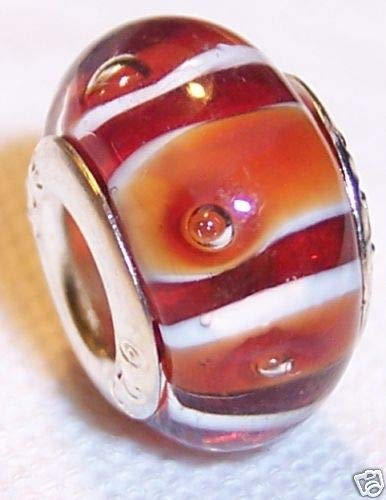 Red Orange White Striped Lampwork Glass Bead fits Silver European Charm Bracelet Crafting Key Chain Bracelet Necklace Jewelry Accessories Pendants (Peanut Red Spiral)