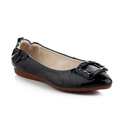 Allhqfashion Dames Lage Hakken Lakleder Stevige Pull-on Puntige Dichte Teen Pumps-schoenen Zwart