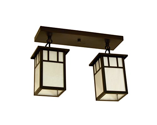 Arch White Finish - Arroyo Craftsman HCM-4L/2AWO-BZ Huntington 2 Light Ceiling Mount with Classic Arch Overlay, 4