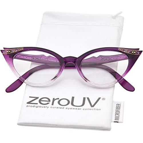 Vintage Cateyes 80s Inspired Fashion Clear Lens Cat Eye Glasses with Rhinestones (Purple Fade)
