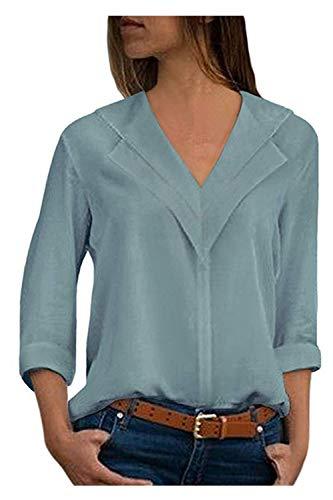 De en V Royal Blouse Longues Femmes Solide Casual Mousseline Manches Tops Soie Bleu Col q4CxgEwfHd